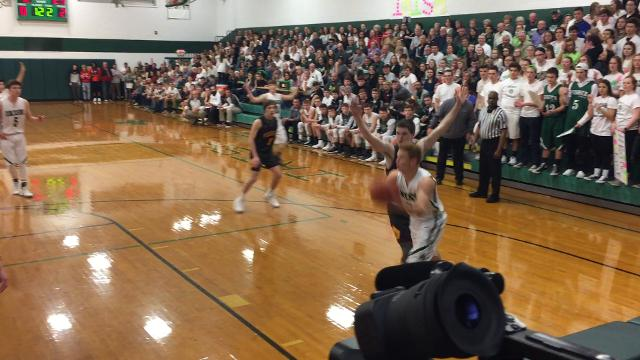 Fisher Catholic's Zach Saffell with a great hustle play against Berne Union.