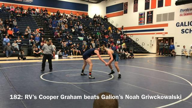 River Valley won the Mid Ohio Athletic Conference Wrestling Tournament Saturday at Galion, scoring 258.5 points to beat Pleasant's runner-up total of 190.5. The Vikings put out five weight class champs.