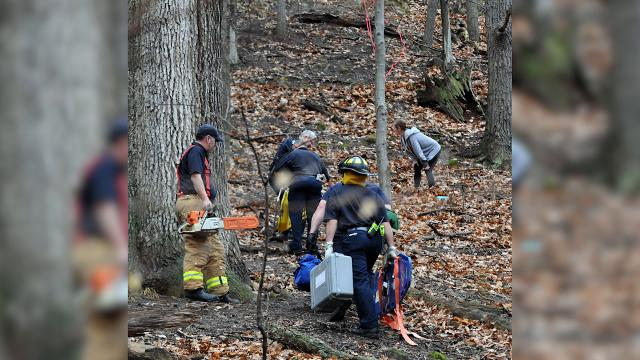 Shane Caudill, 40, was rescued from Mount Pleasant after falling at least 40 feet while hiking on the rock face Wednesday, Feb. 21, 2018, at Rising Park in Lancaster.