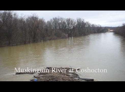 High water on the Walhonding and Muskingum Rivers in Coshocton County on Wednesday.