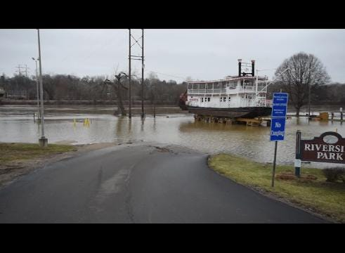 High water on the Muskingum and Licking rivers on Wednesday.
