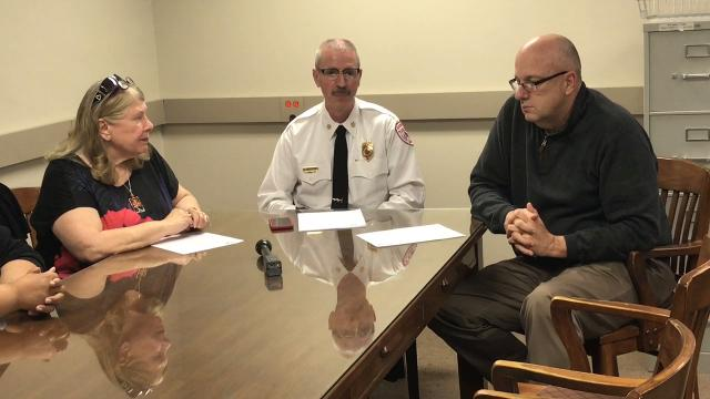 Dr. Vicki Whitacre of the Zanesville-Muskingum County Health Department, Chief Eric Waltemire of the Zanesville Fire Department and Chief Tony Coury of the Zanesville Police Department speak on 19 drug overdoses with four deaths since Sunday.