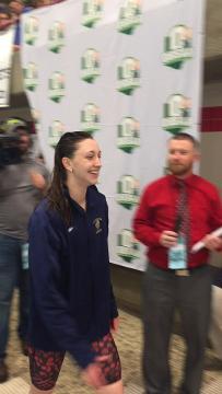 Lancaster senior Olivia Schmelzer receives her state championship medal.