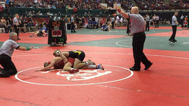 Northmor's Conan Becker wins his first match 16-1. Last 8 bouts: 6 pins, 2 tech falls.