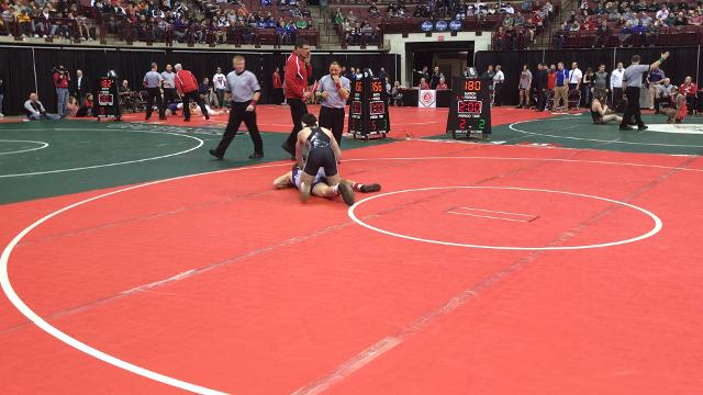 Northmor sophomore Conor Becker beats Swanton's Chase Moore 8-3 for third place at the state wrestling tournament.