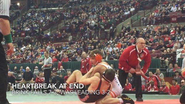 Coshocton sophomore Lucian Brink led his D-III 106-pound state title match with 3 seconds left before falling.