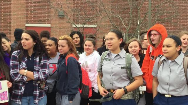 Students at Marion Harding High School joined thousands of students nationwide as they walked out of thier classrooms to protest gun violence in the wake of the shooting at Marjory Stoneman Douglas High School in Parkland, Fla.