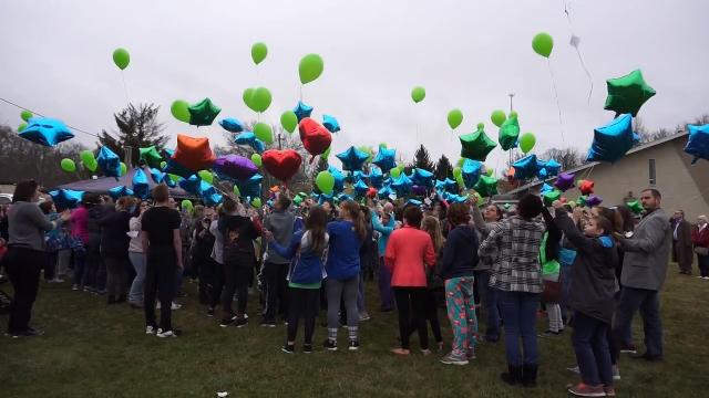 Balloons were released in memory of the late Coby Bleakney on Tuesday.