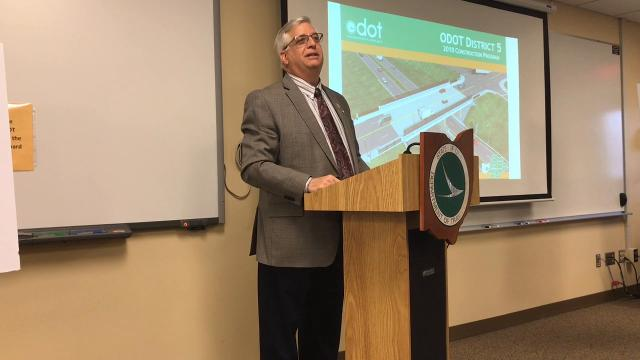 Mayor Steve Mercer speaks on the announced project from the Ohio Department of Transportation to replace the two bridges and ramps at the Ohio 16 and Ohio 541 interchange set to start in the next couple of weeks.