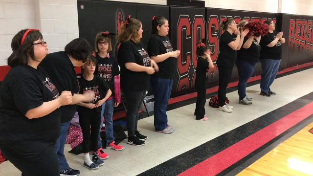 Players for the Hopewell Indians beat staff 62-61 in overtime during the annual for fun game played Wednesday at Coshocton High School.