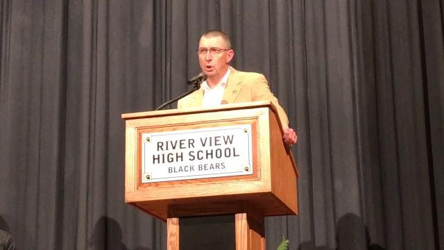 Chuck Rinkes, Principal of River View High School, addresses students and staff at an assembly to honor him on Friday as the Ohio Association of Secondary School Administrators Principal of the Year for 2018.