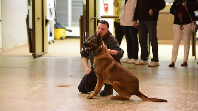 K9 officer Pete Bush shows how K9 Woody is trained during Citizens Police Academy at Fremont Police department.