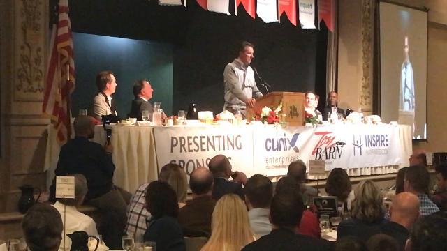 Ohio State coach Urban Meyer at a Team Focus banquet on Thursday night in Columbus on the reaction of mentors Earle Bruce and Lou Holtz after initially turning down his first head coaching job at Bowling Green. Bruce passed away on Friday.