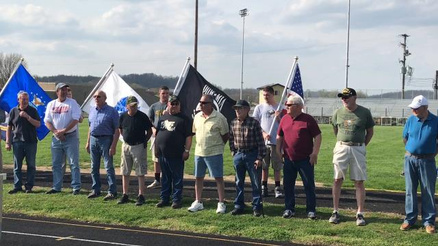 A senior project by Cassidy Turnbull saw about a dozen veterans honored for their service prior to a countywide track meet recently at River View High School.