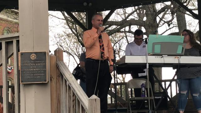 Commissioner Gary Fischer speaks during a National Day of Prayer event on the Coshocton Court Square.