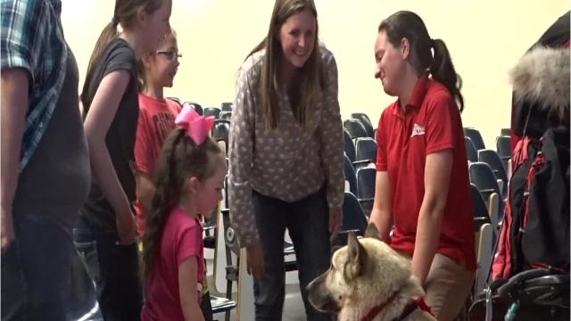 Laura Neese, a 21-year-old Madison Township, introduced her lead dog Maple and shared stories from her recent third-place finish in the Yukon Quest with a crowd at OSU-Newark.
