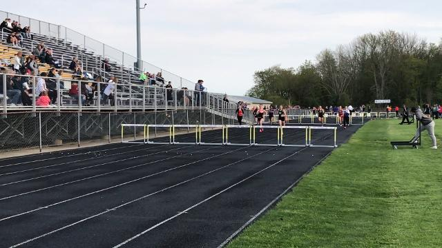 Madison freshman Kari Eckenwiler wins the long jump and 300 hurdles as the Rams dethrone Lexington in Friday's Ohio Cardinal Conference track meet.