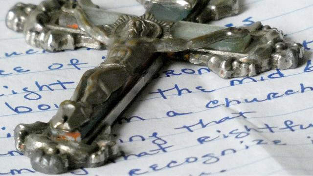 An unusual package arrived in the mail at the News Journal on Thursday, wrapped in brightly-colored gift wrap. Staffers found a crucifix and a note from the sender. The crucifix had been stolen in the 1960's from a church and the note explained that the sender hoped the News Journal would publish a photo of the crucifix so the rightful owner might see and claim it.