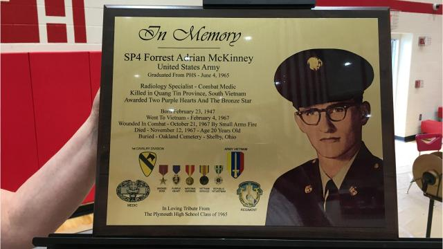 US Army Pfc. Forrest Adrian McKinney died in Vietnam. He graduated from Plymouth HS and on Tuesday his classmates in the Class of 1965 honored him with an assembly and plaque. He was only 20 when he died in 1967.