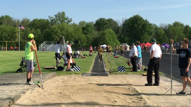 River Valley senior Michael Blevins qualified for the Division II state boys long jump competition on his final attempt during Thursday's regional at Lexington.