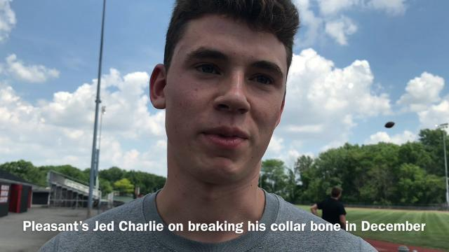 Pleasant senior Jed Charpie broke his collar bone over the winter and didn't start high jumping until a few weeks ago. Despite it, he made it back to the state track and field championoships, just as he did as a sophomore.
