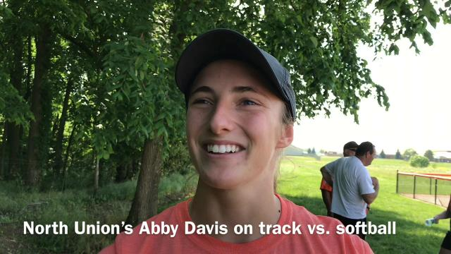 North Union senior Abby Davis is an All-Ohio sprinter and center fielder, but she decided to end her track season after the districts to help the Lady Cats back to the Final Four in softball.
