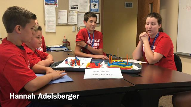 Students talk about the town they created out of clay part of the Embrace Your Selfie worship on being entrepreneurs held this week at Central Ohio Technical College in Coshocton.