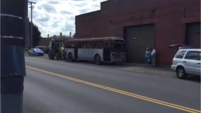 A 1947 city bus was moved Monday to a new home before it is hopefully restored with contributions from the community. Mark Caudill/News Journal