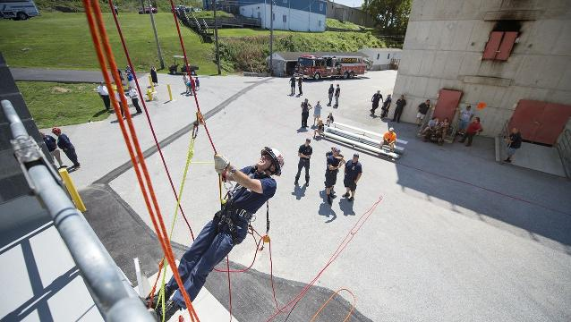 Run up a fire training tower, see new training tools