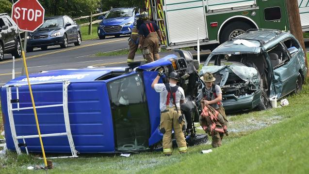 Drivers flown from crash at Falling Spring Rd.