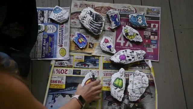 Gretchen Nevin, of Springfield Township, paints inspirational sayings on rocks and hides them along the rail trail with her family every weekend. It's part of a growing trend to spread kindness in the community.