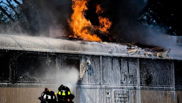 Fire damages a converted tour bus in Annville