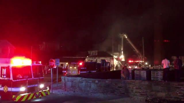 Two-alarm garage fire in Hanover