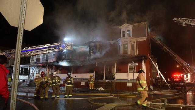 The blaze was dispatched at 1:28 a.m., Friday morning. Fire burned through the building at 340 E. Walnut Street, displacing multiple families.