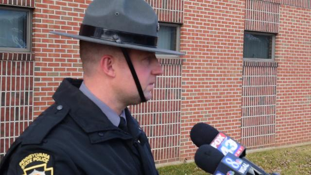PSP Trooper Brent Miller talks about the  the deaths of two people and injuries to others at Manitowoc Crane, east of Greencastle.