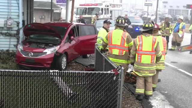 No one was injured in a single vehicle accident Tuesday morning at 9:47 a.m. after a car left the roadway and collided with a structure at 2228 W. Cumberland St. Firefighters propped up the porch with a temporary 4x4 while removing the vehicle from the porch. Traffic was closed in both directions briefly while the car was towed away.