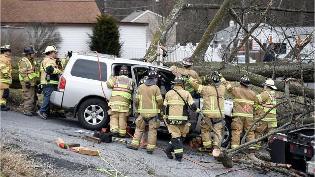 According to EMA dispatch logs: Ebenezer, Neversink, Jonestown, Rural Security, and Glenn Lebanon fire crews were dispatched at 1:05 p.m. Friday to 2024 Hill Street in North Lebanon Township for a rescue with a tree on a car.