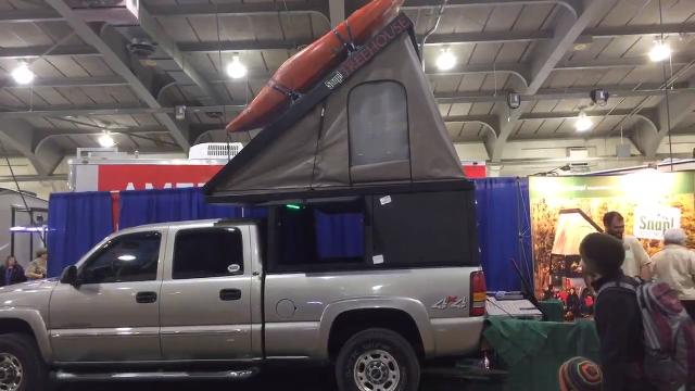 A pickup truck bed camper called The Snap! Treehouse, made in Newberry Township, went on sale in Feb Snap! Outfitters can customize the aluminum camper for any truck. Shown at the York RV Show.