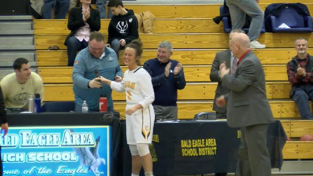 When the national anthem couldn't be played before a PIAA quarterfinal game, York Catholic's Catherine Tillotson took to the mic.