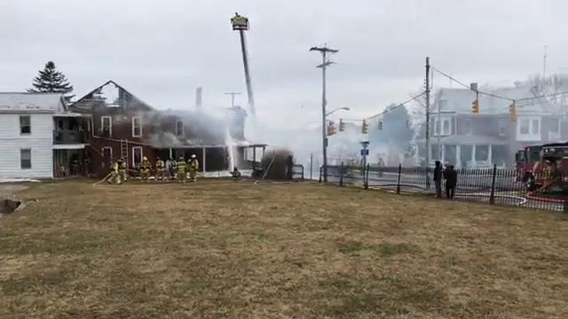 Ty Lohr is live at the scene of a structure fire in the 600 block of Baltimore Street in Penn Township.