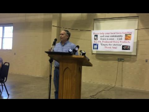 Millcreek Township dairy farmer Kirby Horst received a letter March 3 that Dean Foods will no longer purchase his milk after May 31. Horst explained the impact this would have on his family during a rally Monday at the Lebanon Valley Expo Center.
