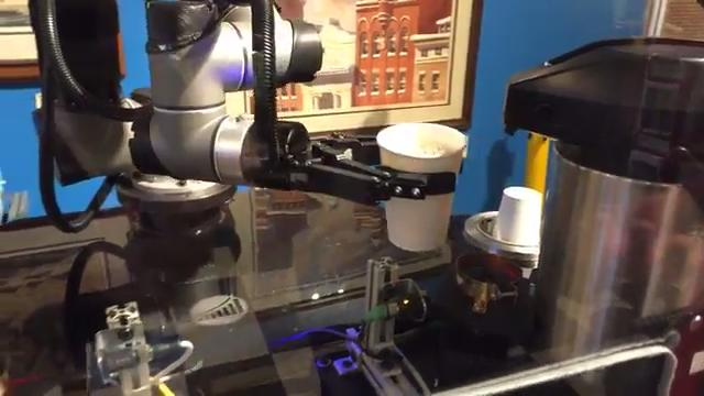 For First Friday, York based company York Exponential had one of their collaborative robots serving coffee at I-ron-ic coffee shop.