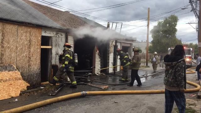 VIDEO: East Gas Avenue garage fire