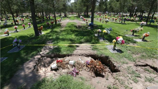 Heavy rains cause damage at Mount Carmel Cemetery