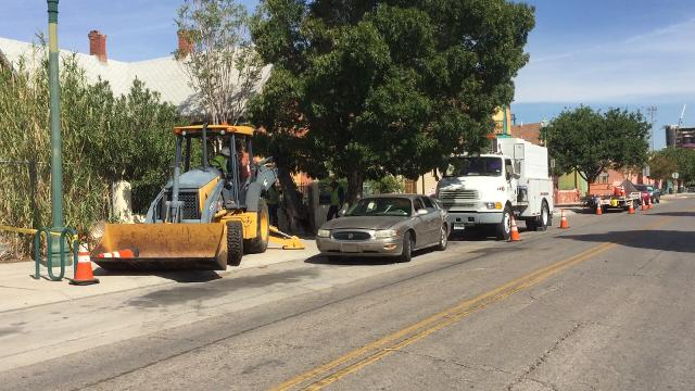 A Texas Gas Service crew was digging up a patch of sidewalk on Chihuahua Street in Duranguito, where the city plans to build the $180 million Downtown arena, Thursday morning.