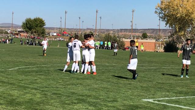 Alamogordo senior Antonio Silva scored on a header off a corner kick by junior Jr. Barbosa on Thursday afternoon in the Class 5A quarterfinals at the Bernalillo Soccer Complex.