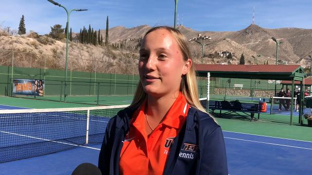 """UTEP Freshman Chloe Purkiss is ready for her first season as a member of the tennis team. Coming to UTEP from Queensland, Australia two things that keep her happy are the weather and """"spicy"""" food."""