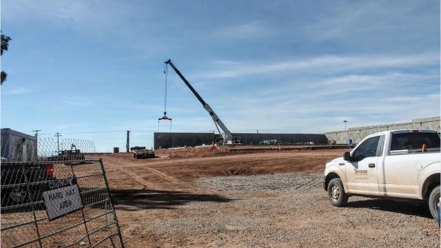 Construction of the new Hobby Lobby store at White Sands Mall is beginning to pick up as crews have began to place the outer concrete walls of the building.