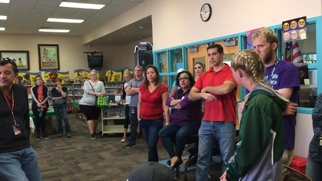 Parents voiced their concerns and asked questions about the reassignment of Desert Hills Elementary School's  principal Friday Feb. 8, 2018