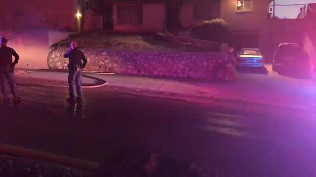 A small fire near Kern and Stanton was extinguished Monday night. Here you can see police and firefighters cleaning up.